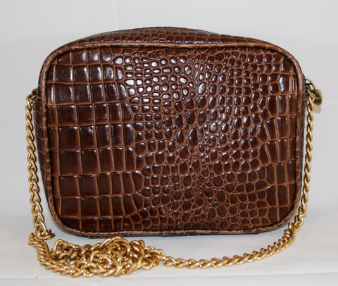 80s Cross Body Faux Croc Vintage Handbag