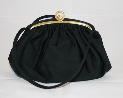 40s Black Silk Satin Handbag