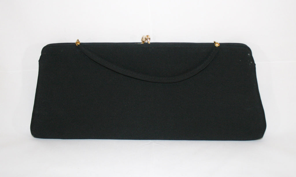 Black Faille 50s Vintage Evening Bag - Vintage Swag Chics