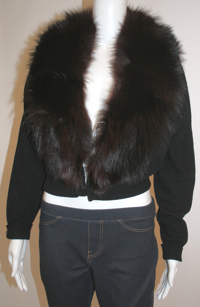 Vintage 1950s Fur Trimmed Black Wool Sweater - Vintage Swag Chics