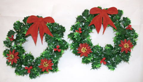Vintage Holly Wreaths Kitsch Christmas Decor