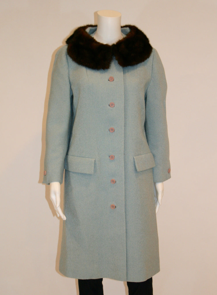 1960s Vintage Blue Coat with Brown Mink Collar - Vintage Swag Chics