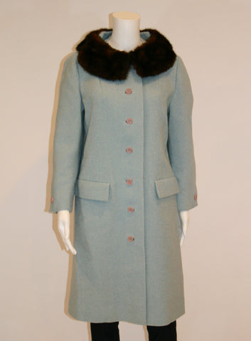 1960s Vintage Blue Coat with Brown Mink Collar