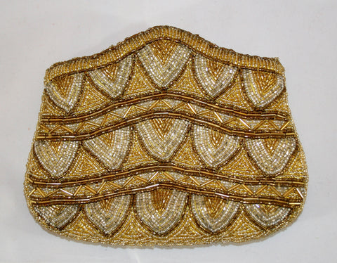 Vintage 70s Gold and Silver Beaded Handbag