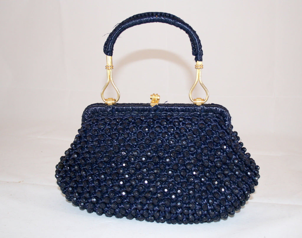 Vintage Italian Navy Woven and Beaded Handbag