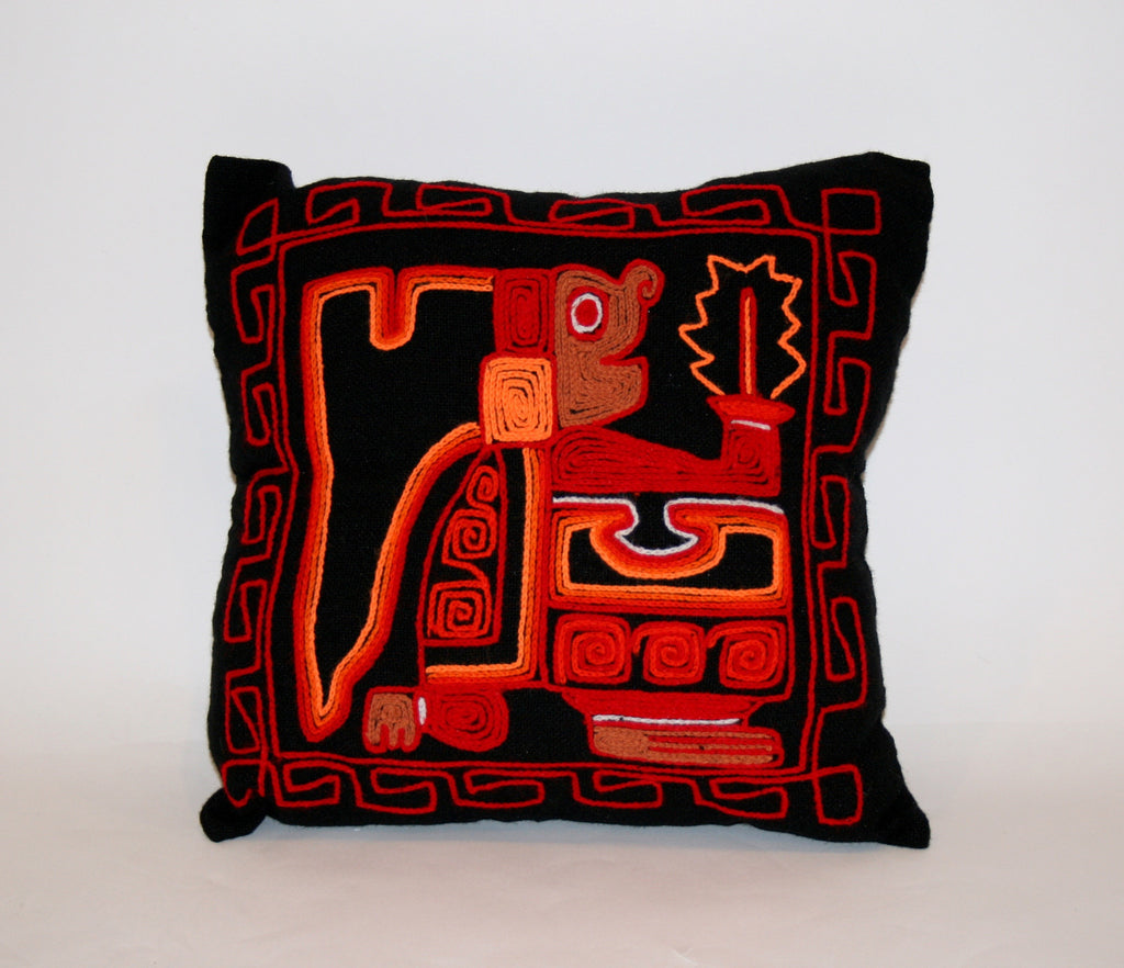 Vintage Mexican Embroidered Throw Pillow