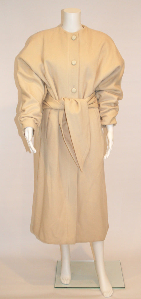 1980s Vintage Nipon Coature Cream Wool Coat - Vintage Swag Chics