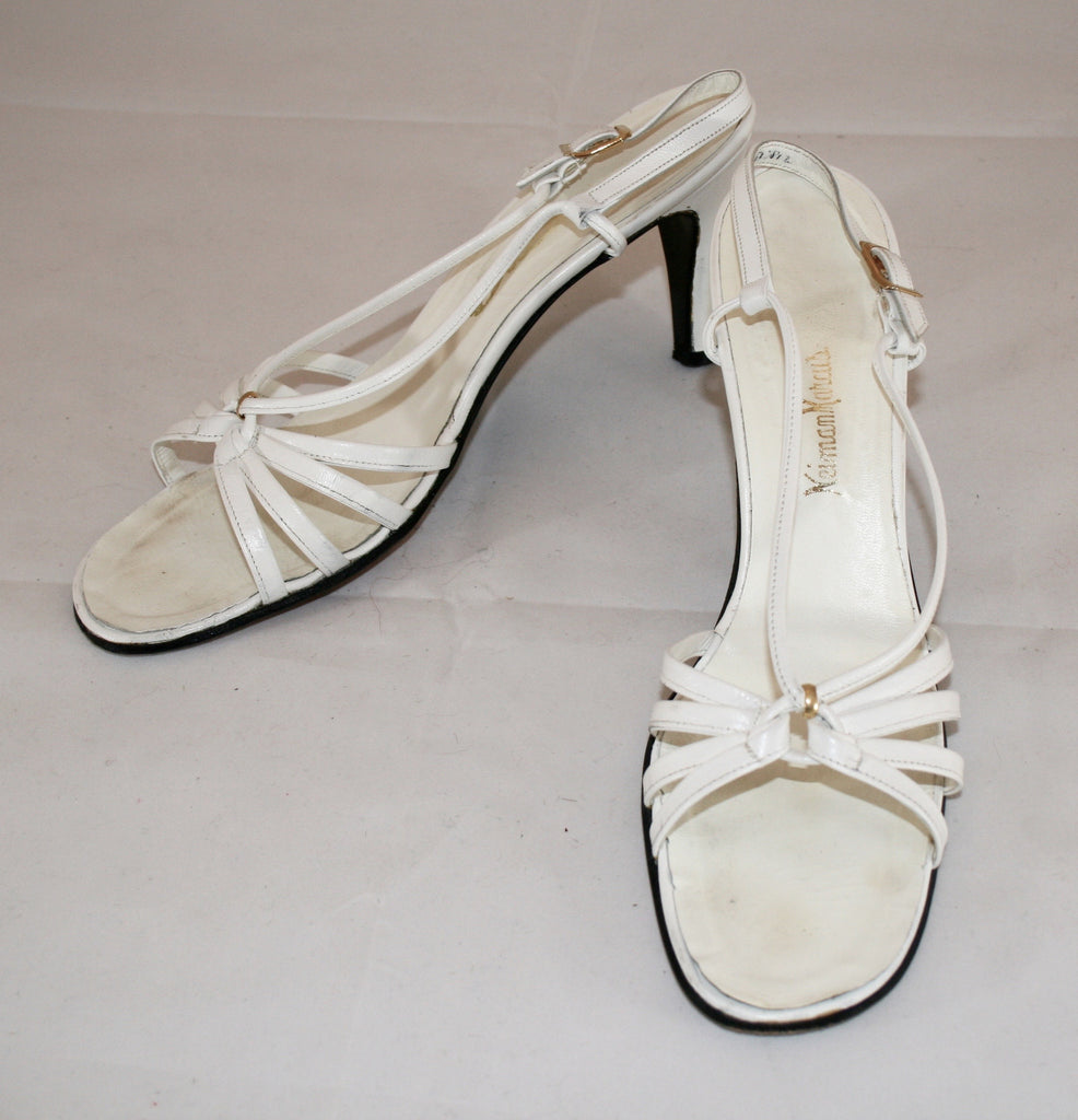 Vintage 1970s Strappy White High Heel Sandals - Vintage Swag Chics