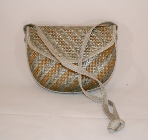 Vintage Silver & Gold Woven Straw Shoulder Hard Shell Bag