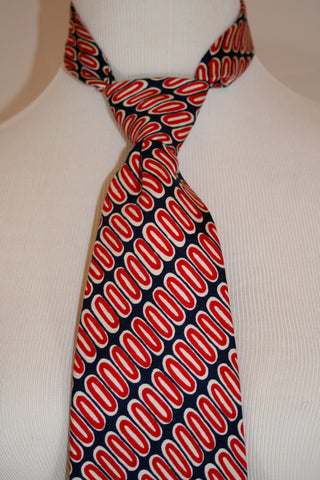 Vintage Navy and Red Graphic 1970s Beau Brummell Silk Necktie