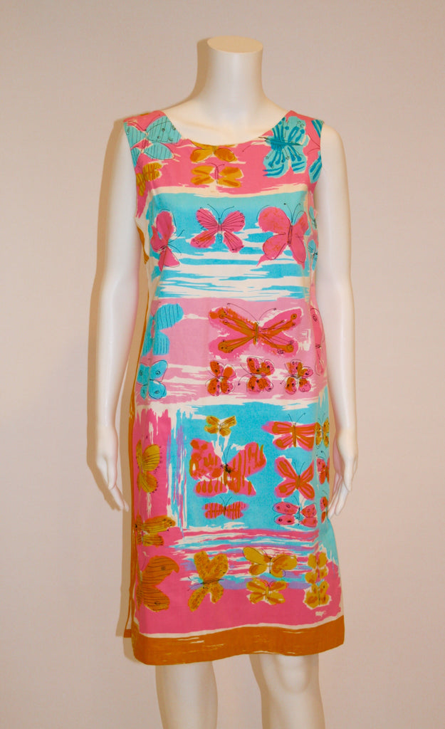 Vintage 1960s Screen Printed Cotton Shift