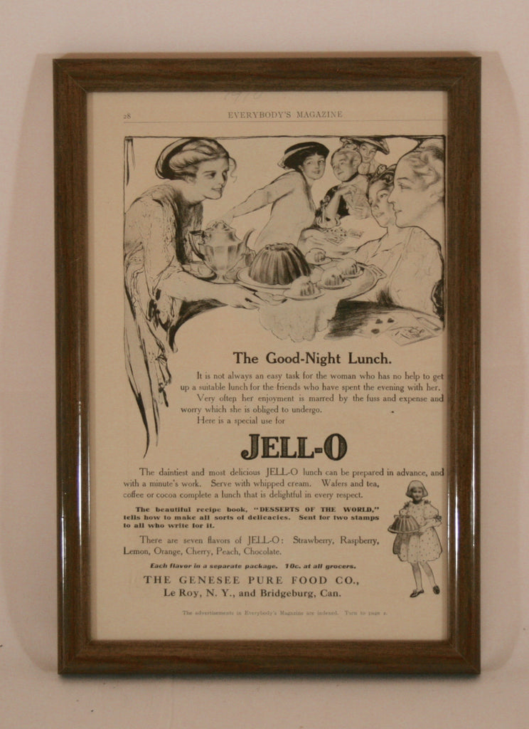 Vintage Framed 1910 Jello Advertisement