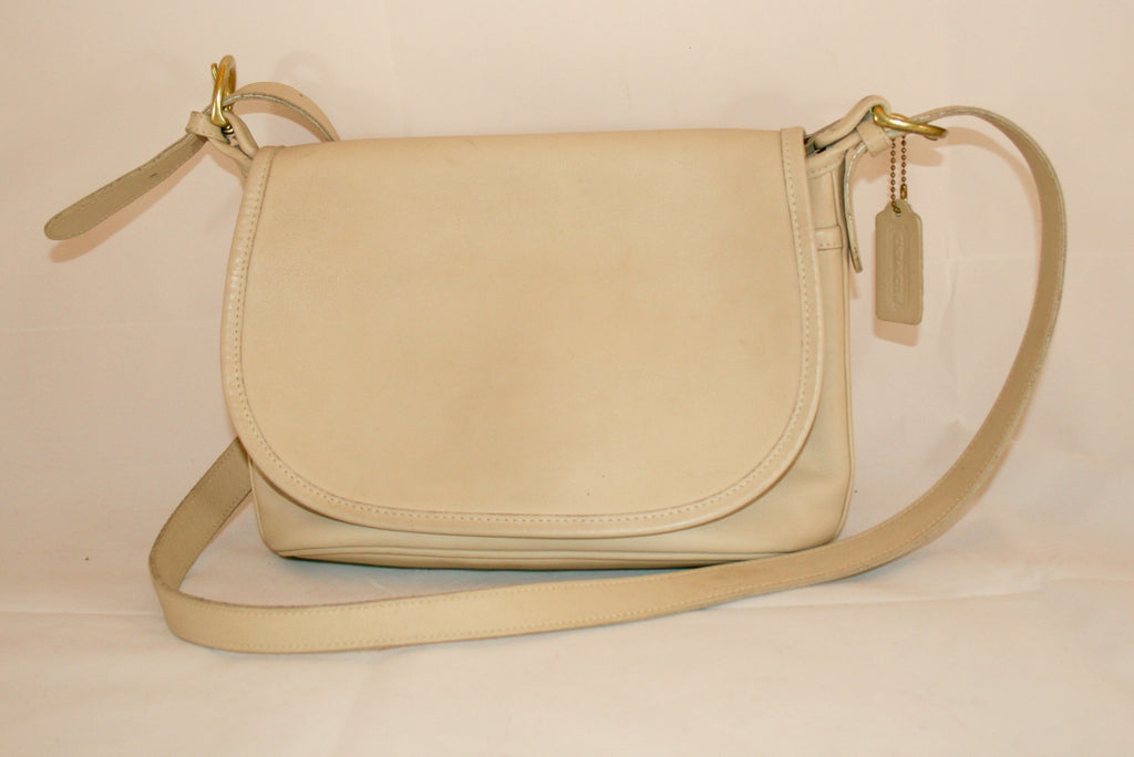 "Vintage Coach ""Fletcher"" Handbag, Cream Leather"
