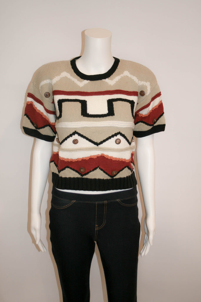 Vintage 80s Geometric Cotton Sweater