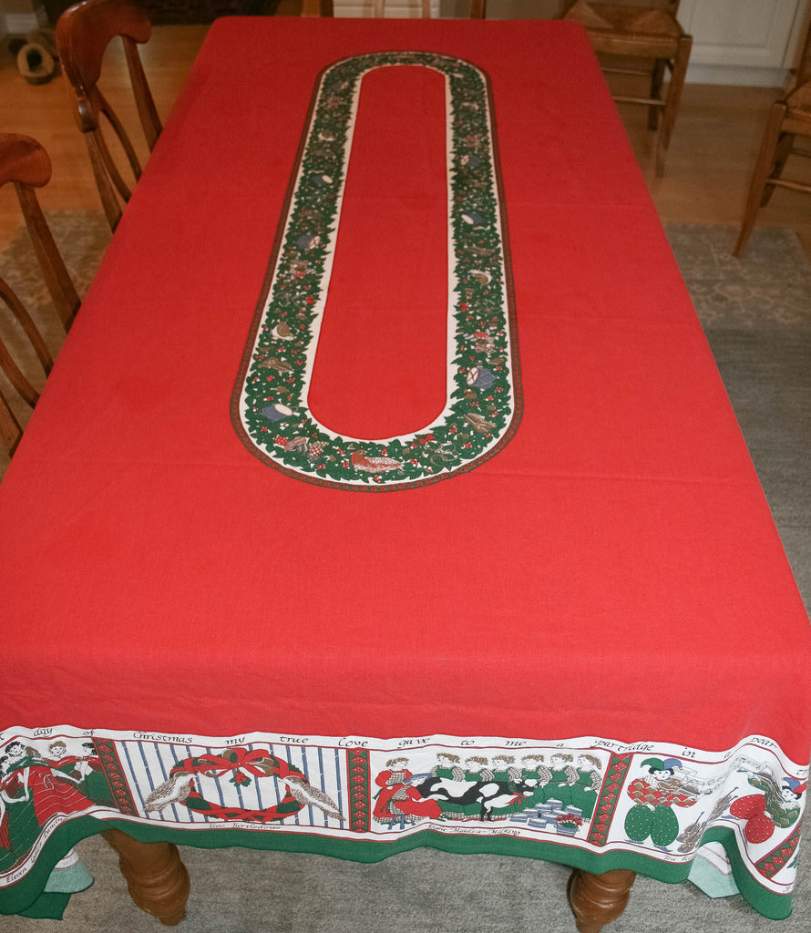 12 Days of Christmas Vintage Rectangle Tablecloth - Vintage Swag Chics