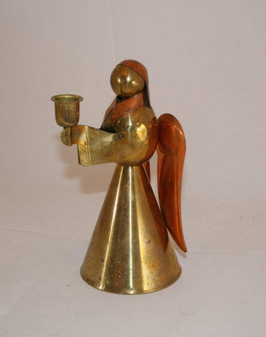 Vintage Brass & Copper Angel Candle Holder