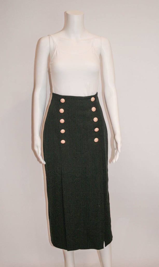 Vintage Louis Feraud High Waisted Black Wool Skirt