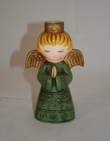 Vintage Chalkware Praying Angel Candle Holder