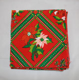 Vintage 70s Christmas Poinsettias Cloth Napkins