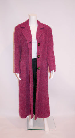 Vintage Irish Creations Fuschia Mohair Full Length Coat