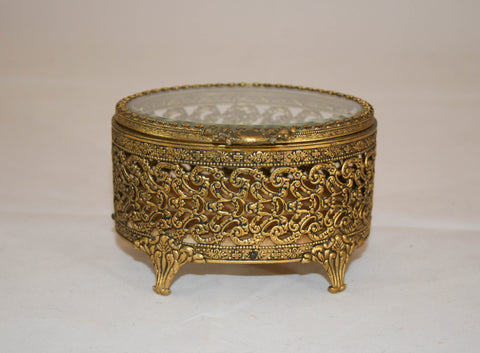 Vintage Filigree Glass Lid Box, Jewelry Casket