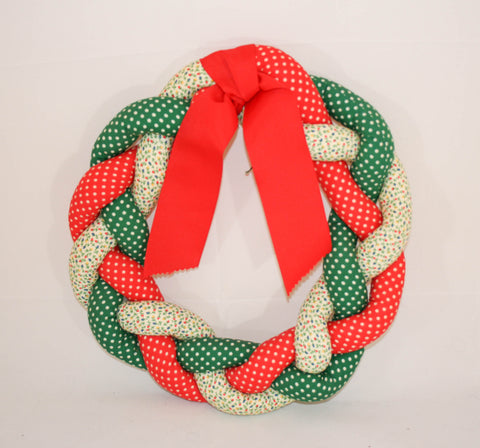 Vintage Braided Fabric Christmas Wreath