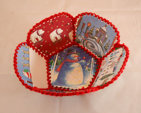 Vintage Paper Christmas Card Bowl - Paper Ephemera
