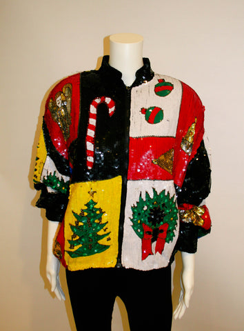 Fabulous Vintage Sequined Christmas Jacket