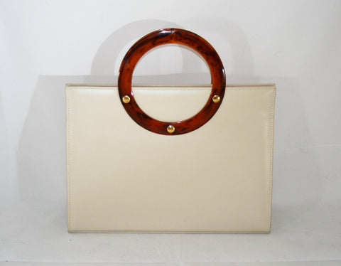 1960s Vintage Tortoise Handle Cream Leather Handbag