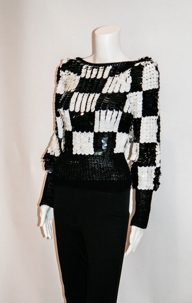 Black & White Checkerboard Sequin 1980s Top - Vintage Swag Chics