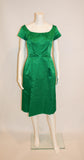 Vintage 1950s Emerald Green Satin Mad Men Evening Dress - Vintage Swag Chics