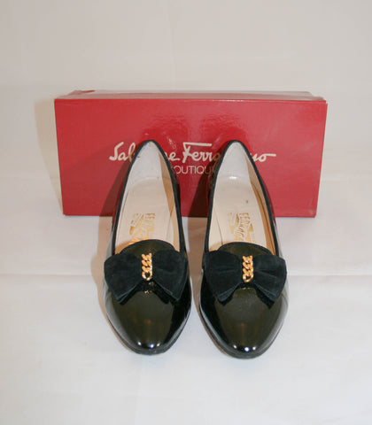Vintage Ferragamo Black Patent Shoes with Suede Bows