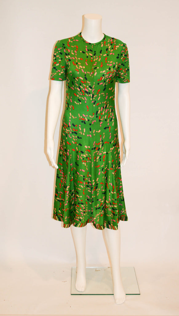 1970s Vintage Tricosa Emerald Green Knit Dress - Vintage Swag Chics