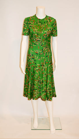 1970s Vintage Tricosa Emerald Green Knit Dress