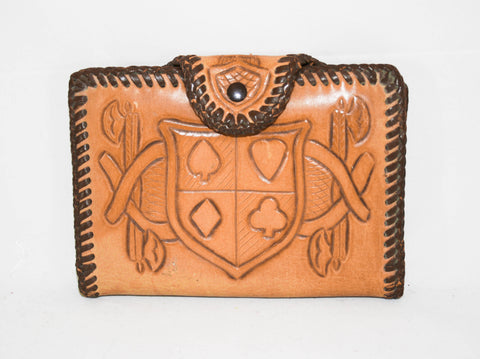 Vintage Handtooled Leather Card Case