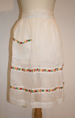 Vintage 1950s Sheer Apron with Embroidered Hearts and Flowers