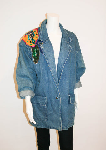 Vintage 80s Denim Oversized Embellished Jacket