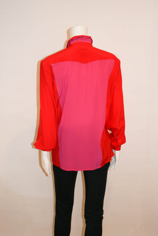 Vintage Escada Color Block Silk Blouse