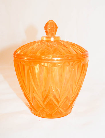 Vintage Clear Gold Faceted Acrylic Ice Bucket