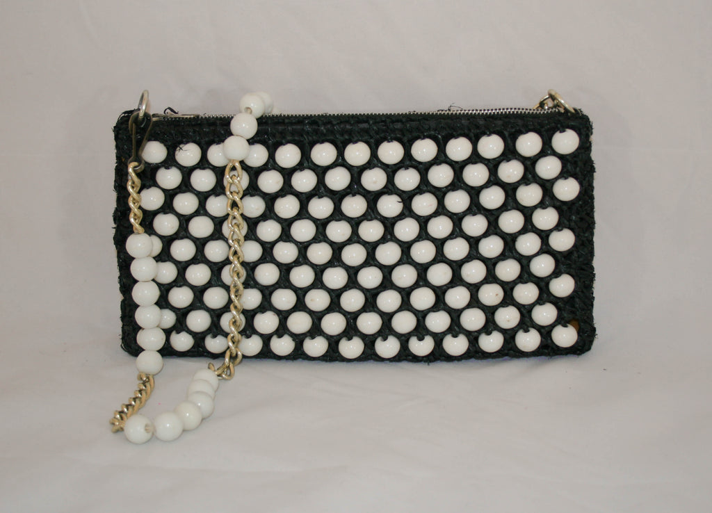 1960s Vintage Navy Straw and White Beaded Handbag - Vintage Swag Chics