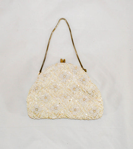 Vintage White Beaded with Champagne Sequin Evening Bag