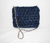 Vintage Navy Straw Handbag with Gold Chain Shoulder Strap