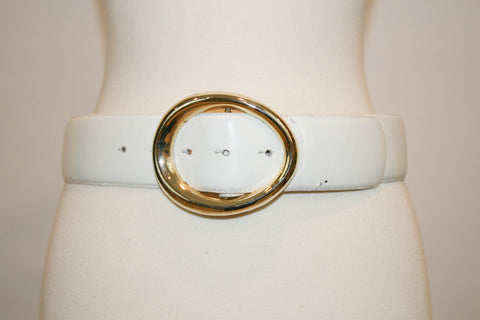 1970s Vintage White Belt with Oversized Buckle