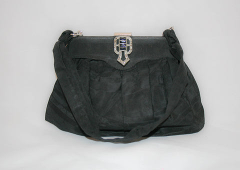 Vintage Black Faille Deco Clasp Evening Bag