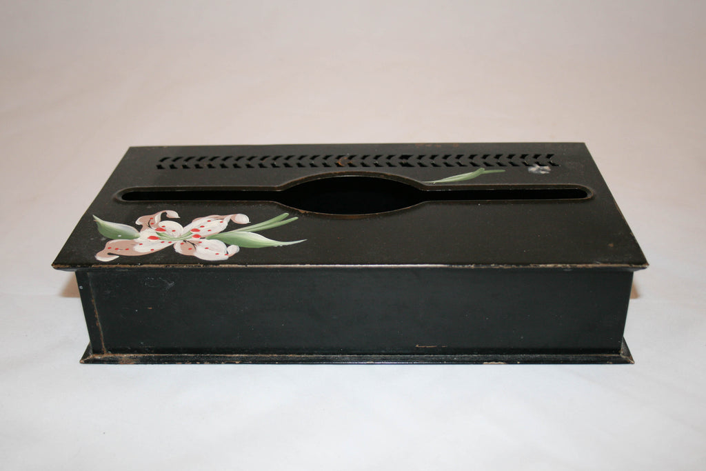 Vintage Tole Painted Orchid Tissue Box Cover