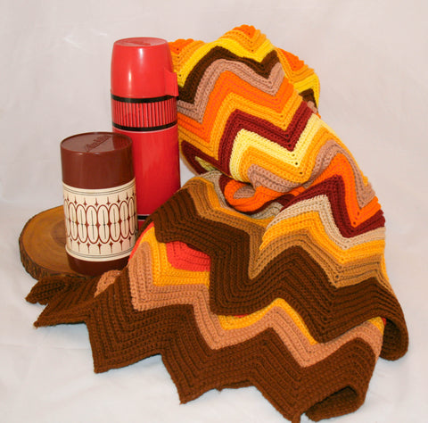 Beautiful Vintage Chevron Patterned Afghan