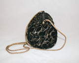 Amazing 1980s Metallic Gold Splattered Black Suede Evening Bag - Vintage Swag Chics