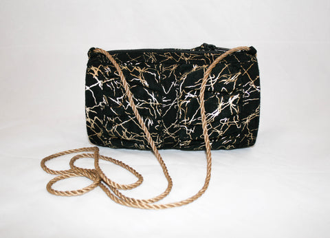 Amazing 1980s Metallic Gold Splattered Black Suede Evening Bag