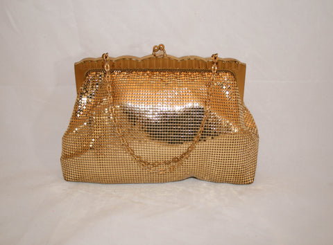 Vintage 1930s Whiting and Davis Gold Metal Mesh Purse #2932