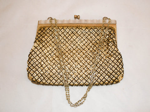 Vintage Gold Beaded Bag by Fine Arts Bag